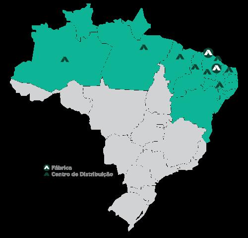 mapa que mostra em quais estados e em quais regiões a apodi atua no Brasil